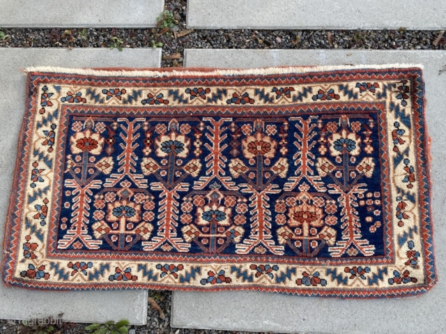 """Afshar tent bag, 34"""" x 19"""", early 20th C., excellent condition.  All natural dyes, soft and lustrous wool. Unusual size. Warm colors not evident in the photos."""