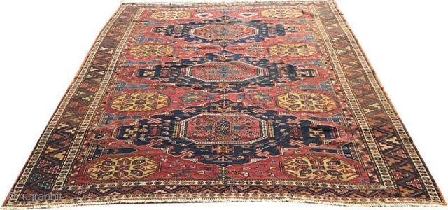 "A genuine antique Caucasian kuba Soumak/Sumac. Is in excellent condition, measures 5'-6"" x 8'."