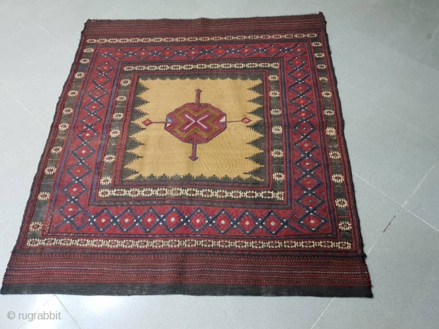 Baluch sofreh with hypnotic x mark medallion , endings are mended , Circa 1950,150 * 145 cm
