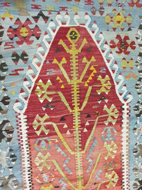 West anatolian prayer kilim,tree design in center,early 19th century ,natural sharp colours,  measures 200 * 138