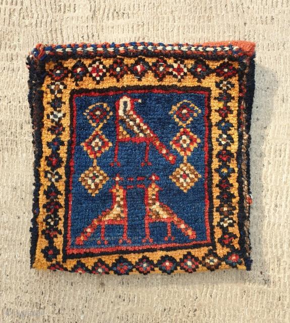 Double faced charming chanteh,from nasrabadi tribe (qashqai)  Size 23 * 21 cm ,circa 1950