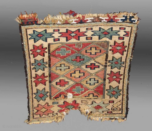 Here is a very old and beautiful small Shahsavan soumak bagface, roughly 28x28cm