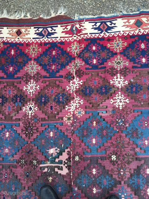 South East Anatolian Curtain Kilim   Aleppo Circa 1880 134*334 cm see Kilims Yanni Petsopoulos illustrated 196   a finely woven and beautiful kilim Good condition slight fade on one side  ...