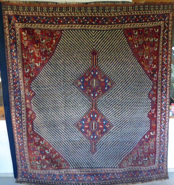 1530 Khamseh carpet of unusual size in good condition with all natural dyes.