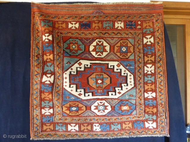 Ref 1527 Antique Bergama - Kozak. 3.0 x 3'0 - 100 x 100.  In good condition with some small restoration to top corners.  Circa 1880 or earlier with all natural  ...