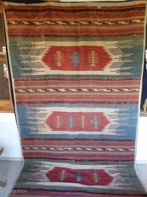 Ref 1494 Antique West Anatolian kelim. 11'3 x 5'2 - 343 x 148. Mounted on fabric.