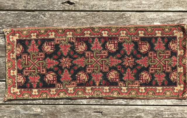 1551 Swedish Carriage cushion dated 1823. 3'9 x 1'6 - 115 x 45