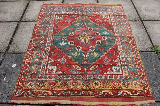 1458 Antique Dazkiri rug circa 1850 or earlier in good condition with some small invisible restoration. 5'6 x 4'5 - 168 x 135