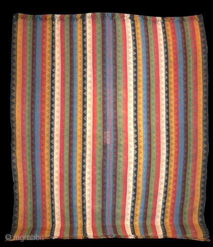1419 Flatweave from South WEst Persia probably Qashqai.  Known as Moj. Nineteenth century about 8'0 x 5'0.  In good condition except for patch as shown. Dense natural colurs.