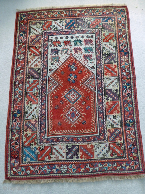 Ref 1478 Antique Meles Prayer rug.  Circa 1850. In good condition with sides restored.