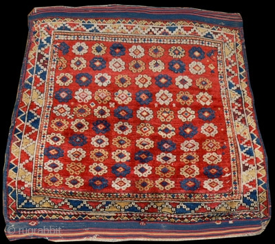 1474 Bergama, nineteenth century. 4'1 x 4'1 - 125 x 125.  Long lustrous pile naturally dyed. Small invisible restorations. Original sides and ends.