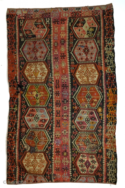 Hotamis Konya, central Anatolia kilim fragment.  280 x 167 Cm. .3 ft x 5.5 ft.   fragment, as is, old repairs.