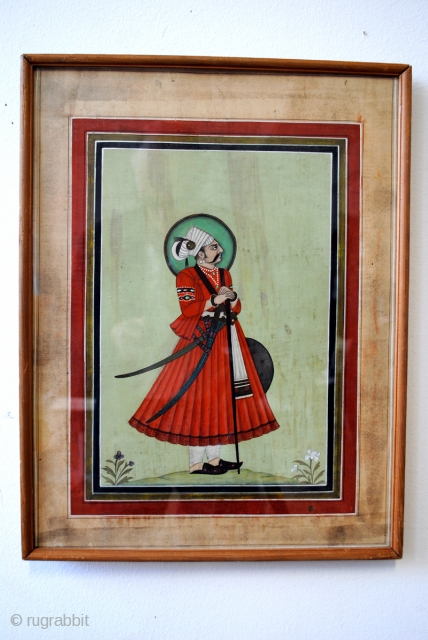 Set of 2 fine Persian paintings on specially made paper from fabric. 