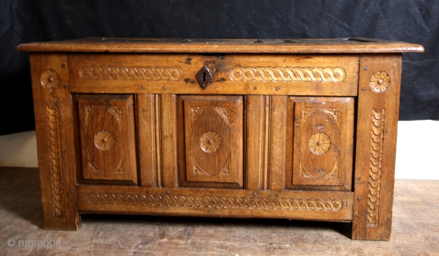 Chest, Dutch, early 18th century. Blond Oak with a great patina.  Long 128 Cms. 4 ft 3 inch high 64 Cms 2 ft 2 inch.