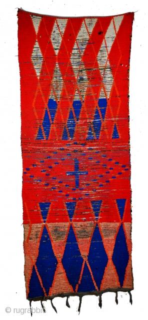Berber woman in Marokko.  Boucheteroite.  reused fibers 215 x 80 Cm's. 7 feet, 2 inch x 32 inch