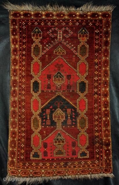 Beshir prayer rug.   Rare multiple mihrabs.   110 x 62 Cm.
