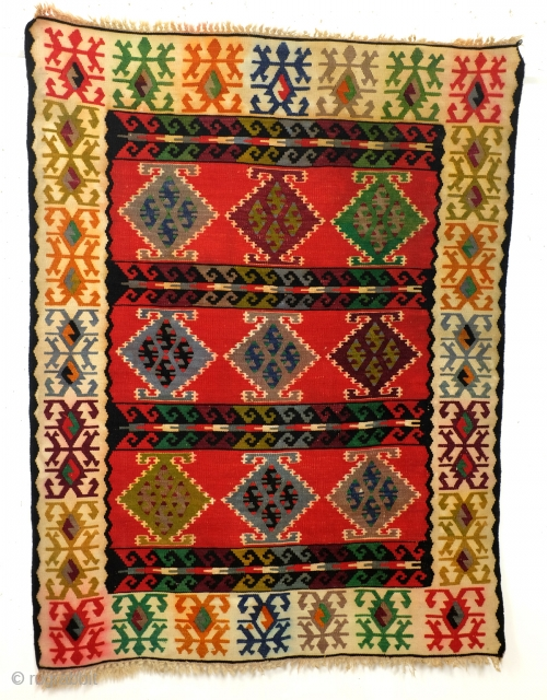 'Sarkoy' kelim, Bulgarian, antique, 195 x 148 Cm. 
