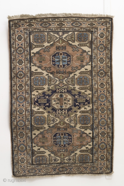 Ardebil, Caucasian style, antique 20ties, wool on cotton.  225 x 125 cm.