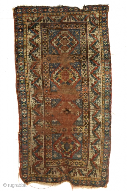 Karabach, 1900 - 1915, beautifully worn rug. 190 x 101 Cm. 
