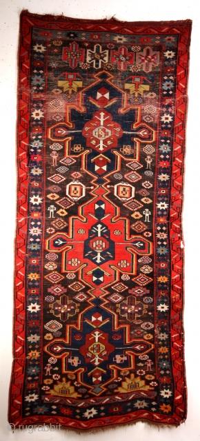 Kazak, 1890 - 1920,  deep saturated natural colors.   size: 264 x 113 Cms.
