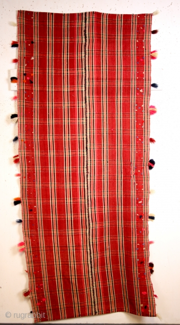 'Moj', means wave in Farsi, sofisticated weaving by woman for the Qashqai.  240 x 100 Cm. 8 feet x 3 feet 4 inch.  Mid 20th century, in fair condition original sides and  ...