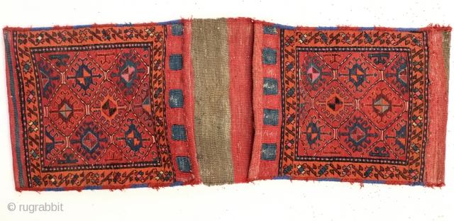 Complete double bag.  Shahsavan nomads South Adzerbedijzan,  130 x 50 Cm. Soumack the back is kilim.
