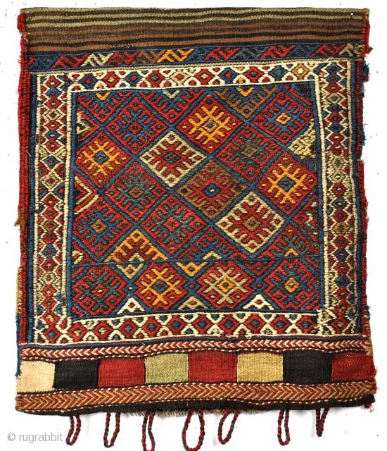 Complete bag, Shahsavan, silk on wool.  Kilim back. Great condition. 57 x 70 Cm. 2 feet x 2 feet 4 inch.