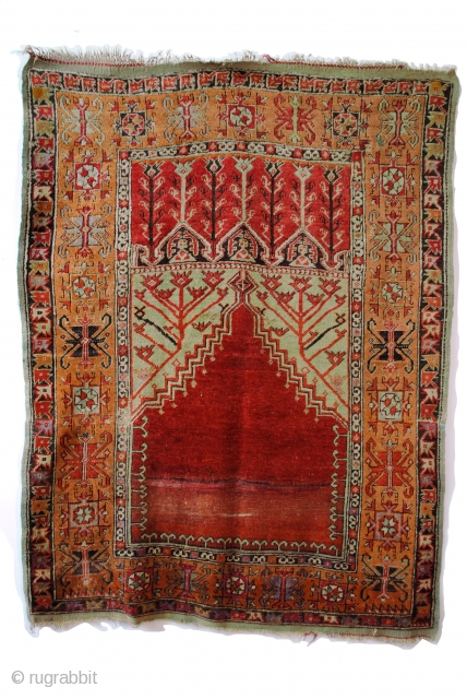 1870 Konya Prayer rug. In fair condition. 