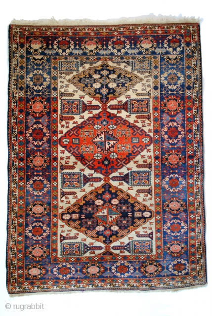 Rare antique Ardebil rug with Konaghend design and Talish borders. 
