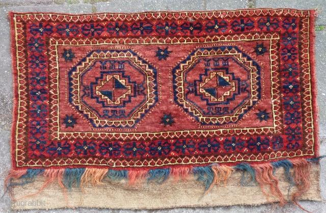 "Ersari(?), Turkmen torba, 43  x 82 cm., 17"" x 32"". Good pile and all natural dyes. Small finger tip seize damage. Washed."