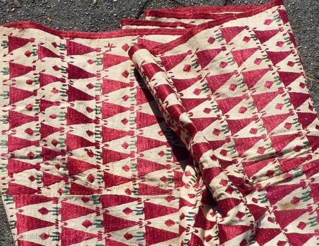 "Antique Phulkari Punjab India ca. 1900, 264  x 137 cm., 8'7"" x 4'6"". Silk on cotton. A few brown stains."