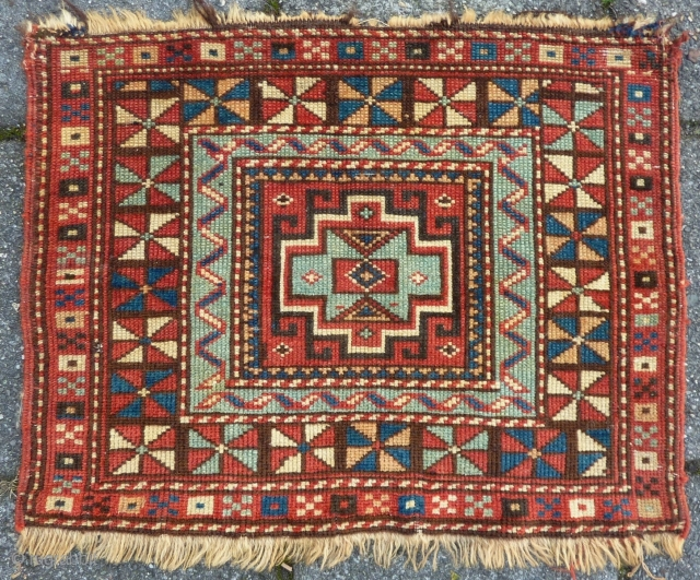 "Shirvan Bagface, 45  x 58 cm., 18"" x 23"", 19th. c. All natural dyes and woolen structure."