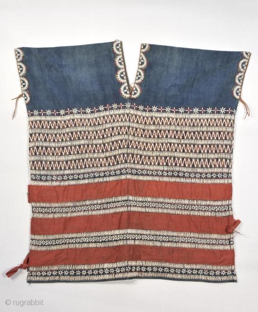 Karen Blouse - Myanmar ( Burma )   Good old ( circa 1940-1950) Pwo Karen blouse of indigo ground cloth with applied Job;s Tears and cotton embroidery. Neck and arm area alo  ...