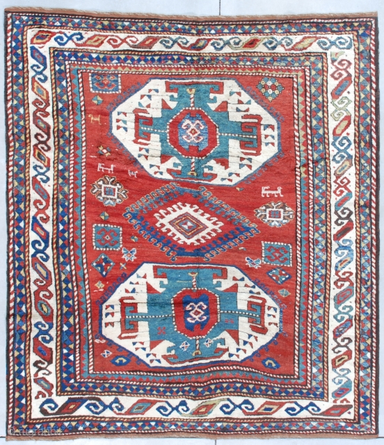 "#7626 Lori Pambak Kazak antique rug  This circa 1880 Lori Pambak Kazak measures 6'5"" X 7'2"" (198 x 219 cm). It is a full pile beauty with the typical Lori Pambak medallion layout.  ..."