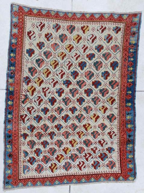 #6449 Kuba Antique Caucasian Oriental Rug 4'6″ X 6'5″ Size: 4'6″ X 6'5″  (140 x 198cm)  Age: Circa 1850  Price on request https://antiqueorientalrugs.com/product/6449-kuba-antique-caucasian-oriental-rug/