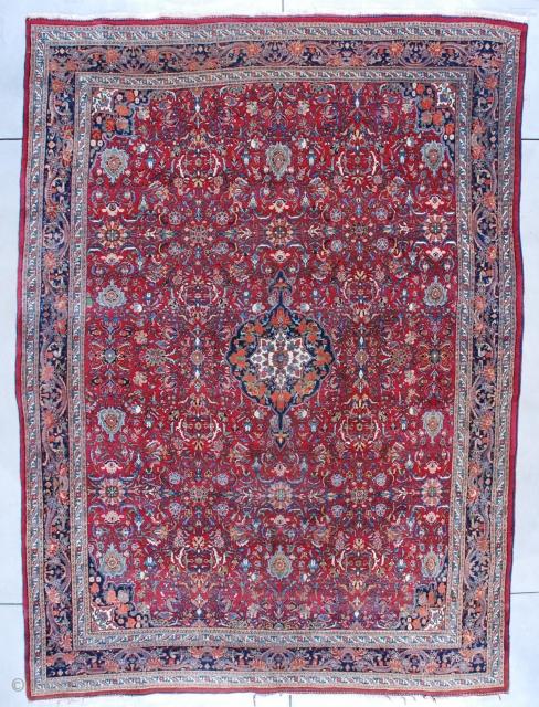 """#7534 Room Size Bidjar Oriental Rug 8'9″ X 11'10""""This circa 1930 Bidjar Persian Oriental Carpet measures 8'9"""" X 11'10"""" (271 x 363 cm). It has a medium red to maroon field with  ..."""