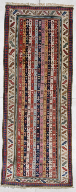 """#4177 Shirvan Runner  This circa 1850 or older antique Caucasian Shirvan runner measures 3'7"""" X 9'4"""". It has twelve stripes in eleven different colors. This is the finest woven Shirvan of its type  ..."""