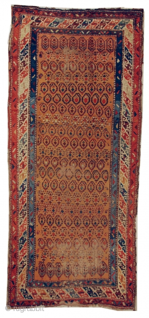 """#6629 Ancient Kazak   This old Kazak antique rug measures 4'1"""" X 9'6"""". It is probably first quarter 19th century, if not older. It shows wear commensurate with it's age. The buyer pays  ..."""