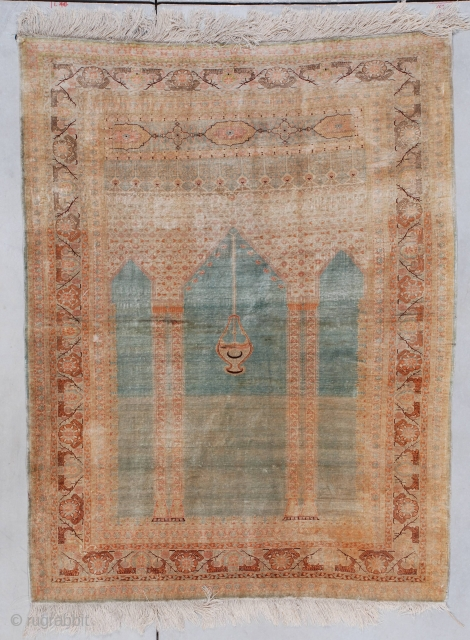 #7297 Sivas antique Turkish Oriental Rug  This circa 1880 silk Sivas prayer rug measures 4'2' X 5'5'. It is the coupled column variety on a turquoise ground with a nice abrash running through  ...