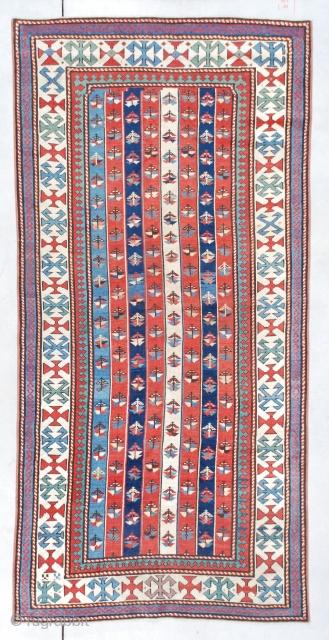 "7372 Kazak antique rug  This circa 1870 Kazak Gendgi measures 3'6"" X 7'3"" (109 x 222 cm). This is one of my favorite kinds of Gendji , the 'cane' design. It has eight  ..."