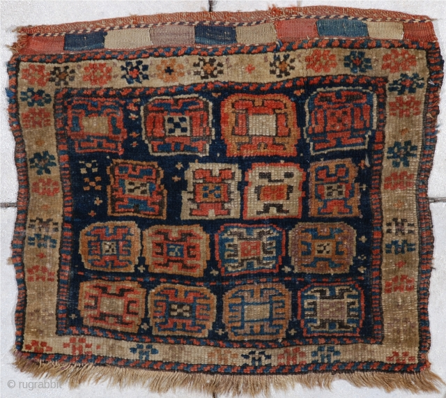 """#6948 Kurd bag face  This circa 1880   Kurd bag face measures 2'0"""" X 1'9"""".  It is a lovely, full pile bag face with a wonderfully finished closure end in red,  ..."""