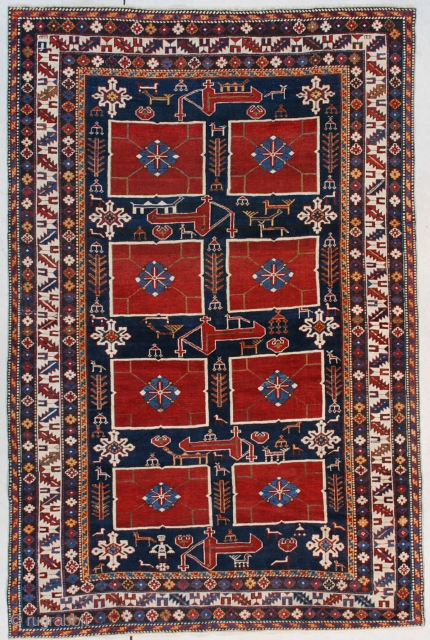 """#7528 Karagashli This third or fourth quarter 19th century Karagashli rug measures 4'2"""" x 6'3"""" (128 x 192 cm). Although the rug is only 4' x 6',  it could be considered  ..."""