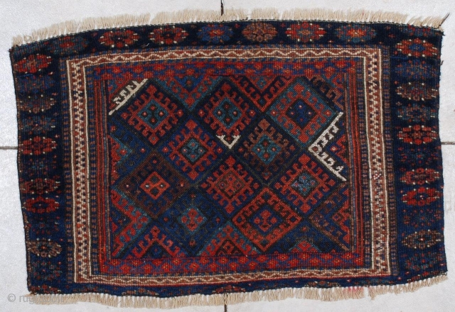 """#7069 Antique Jaf Kurd Rug This circa 1900 Jaf Kurd antique Persian Oriental Rug measures 3'10"""" X 2'6"""".  It has a typical diamond design with latch hook medallions and a typical multi-colored  ..."""