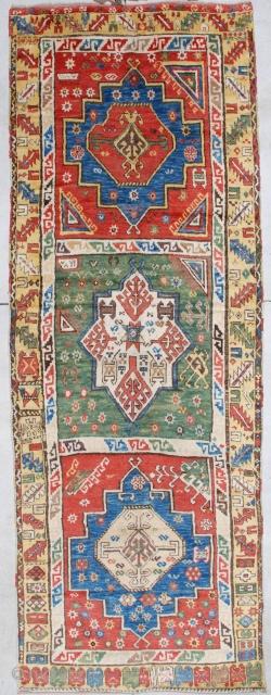 "#7121 Antique Konya Turkish Rug 4'8″ x 12'10"" This dated 1870 Konya Oriental Turkish rug measures 4'8"" X 12'10"". It is to my eye one of the most beautiful Konya rugs I have  ..."