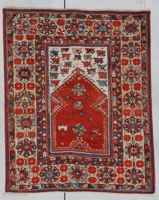 "#7143 Antique Melas Turkish Rug  This Melas or Melez very antique Oriental carpet measures 4'0"" X 5'0"". A very similar example of this rug is in the Turk Ve Islam Eserleri Museum,  ..."