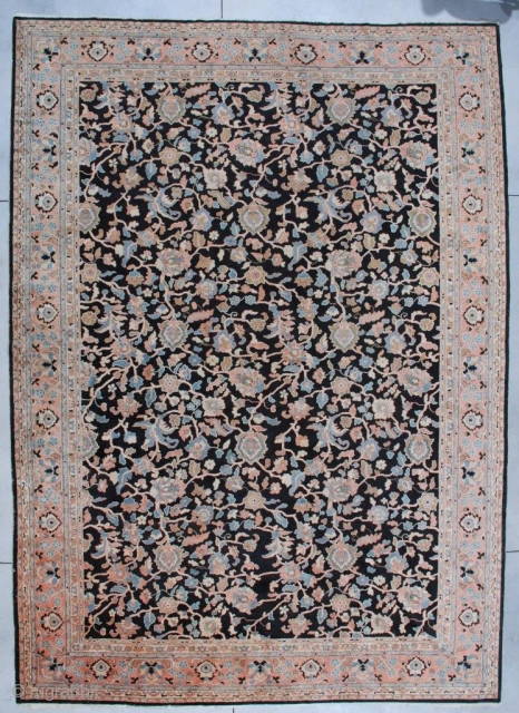 "#7116 Antique Agra Rug from India. This Agra measures 11'1"" x 15'3"". It has a black background with a vine and tendril design in   coral, very pale sky blue, ivory  ..."