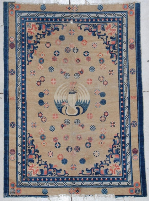 """#7174 Antique Pao Tao Chinese Rug  This second half 19th century Pao Tao measures 4'4"""" x 6'0"""". It has a mocha field and major border which is very rare for this type  ..."""