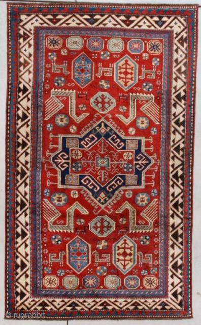 """#7623 Borchalou Kazak This circa 1870 Borchalou Kazak with Akstava motif measures 4'1"""" X 6'8"""" (125 x 207 cm). This is one of a kind. A Borchalou Kazak with an Akstava Design! It  ..."""
