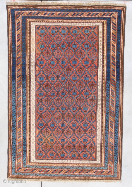 "#7332 Kuba Antique Caucasian Oriental Rug This last quarter 19th-century Kuba measures 3'8"" X 5'8"". It has a rust to terra-cotta colored field with hexagonal repeated compartments ala Marasali Shirvan containing blue  ..."