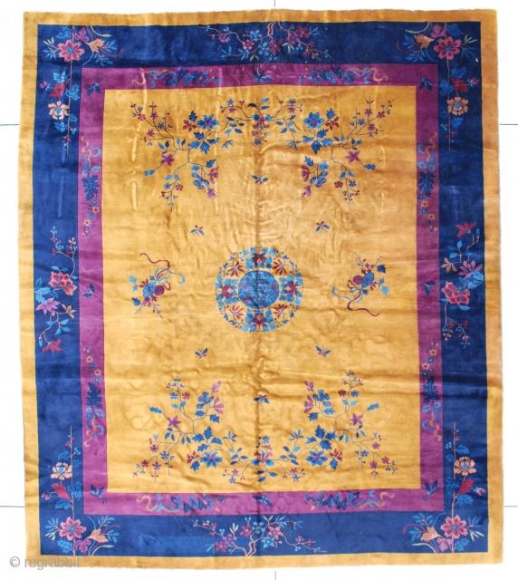 "#7410 Mandarin Chinese Rug This circa 1920 Mandarin Chinese rug measures 10'0"" X 11'10"" (304 x 362 cm). It has a dark gold field with a medium blue circle serving as a center  ..."